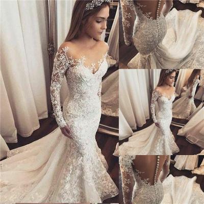 Maravilloso apliques fuera del hombro vestidos de novia   Largas mangas largas florales con cuentas_2