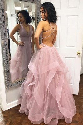 A-Line Sexy Pink Halter Ruffle Sleeveless Prom Dresses_1