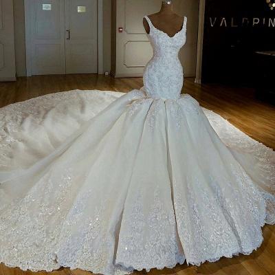Shiny Mermaid Beading Lace Straps Applique Wedding Dresses_2