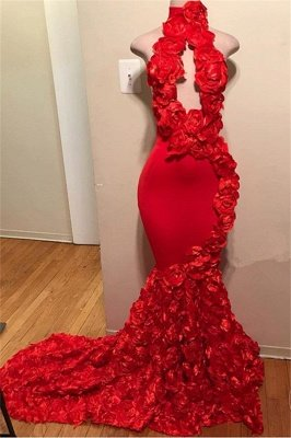 Elegant Red Halter Flower Sleeveless Mermaid Prom Dress