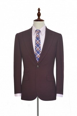 Dark Red Small grid Peak Lapel Custom Suit For Men | New Single Breasted One Button Groomsmen Men Business Suit