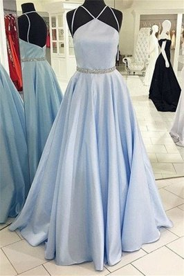 Gorgeous Halter Beads Prom Dresses | Cheap Open Back  Evening Dresses with Belt