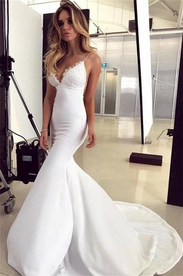 Mermaid Gorgeous Spaghetti-Straps Applique Sleeveless Wedding Dress