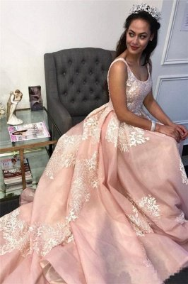 Stunning Pink Applique Straps  Prom Dresses | Ruffle Cheap Sleeveless Sexy Evening Dresses