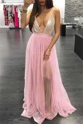Glamorous Shining Sequins Halter Applique Prom Dresses | Lace-Up Side slit Sleeveless Sexy Evening Dresses