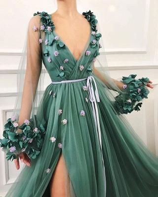 Precioso vestido de fiesta de una línea de tul de manga larga con abertura lateral en tul_2