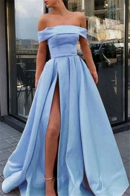 Gorgeous Off-the-Shoulder Ruffles Prom Dresses | Side Slit Sleeveless Cheap Evening Dresses