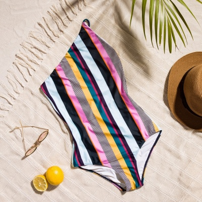 One-shoulder Colorful Sripes One-piece Swimwears_7