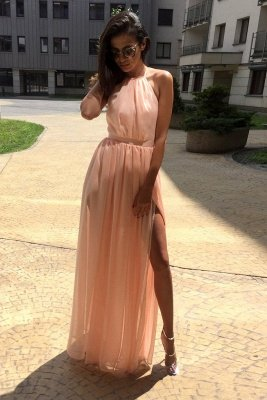 Stunning Sheer Halter Ribbons Prom Dresses | Side slit Overskirt Bowknot Sleeveless Sexy Evening Dresses