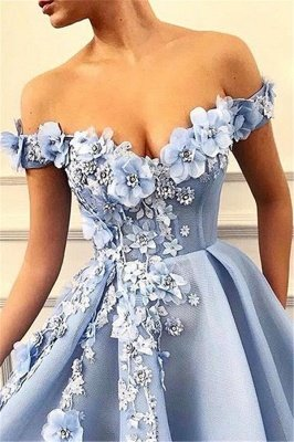 Elegant Off-The-Shoulder Flower Appliques Sleeveless A-Line Prom Dress_2