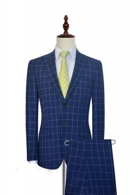 Neu Deep Blue Grid Wolle Peak Revers Maßanzug | Single Breasted Two Button Einzigartiger Hochzeitsanzug für den Bräutigam