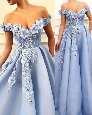 Elegant Off-The-Shoulder Flower Appliques Sleeveless A-Line Prom Dress_1