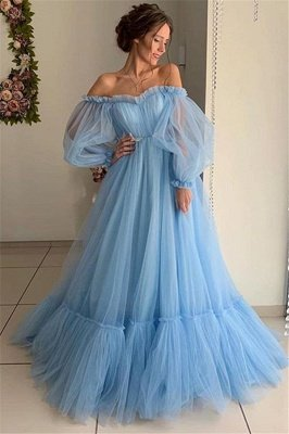 Gorgeous Off-The-Shoulder Long-Sleeves Sheer-Tulle A-Line Prom Dress_1