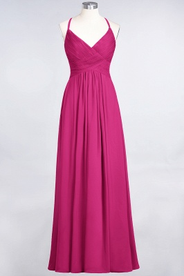 Chiffon A-Line Spaghetti-Straps V-Neck Sleeveless Long Bridesmaid Dress with Ruffles_9