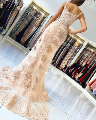 Alluring Elegant Lace Spaghetti Strap Sexy Mermaid Prom Dresses | Sleeveless Evening Dresses with Over-skirt_2