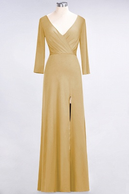 Spandex A-Line V-Neck Long-Sleeves Side-Slit Long Bridesmaid Dress with Ruffles_12