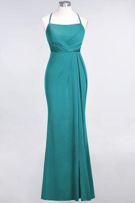 Spandex Lace Mermaid Spaghetti-Straps Sleeveless Long Bridesmaid Dress with Ruffle_28