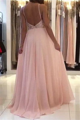 Amazing Pink Halter Applique Prom Dresses | Sleeveless Open Back Evening Dresses With Crystal_3