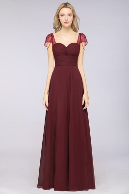 Chiffon A-Line Sweetheart Cap-Sleeves Ruffle Long Bridesmaid Dress with Beadings_2