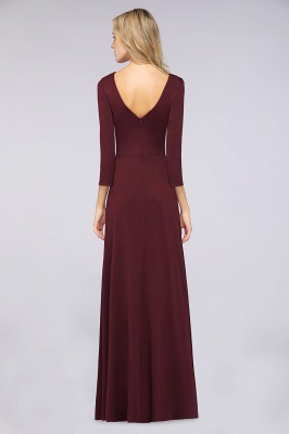 Spandex A-Line V-Neck Long-Sleeves Side-Slit Long Bridesmaid Dress with Ruffles_32