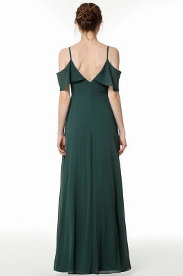 New Arrival Spaghetti Straps Open Back Simple Long Bridesmaid Dresses_2