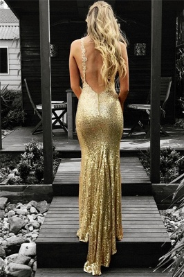 Sexy Pailletten Meerjungfrau Ärmelloses Abendkleid | Gold Abendkleid_3