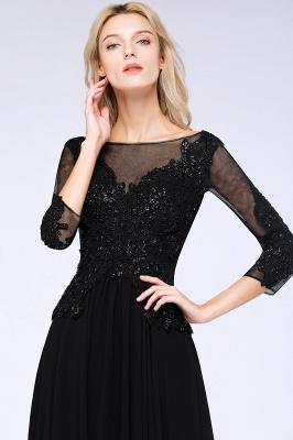 Perles noires manches 3/4 A-Line Appliques robes de demoiselle d'honneur_5