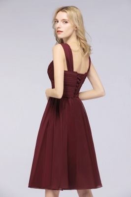 Elegant Ruffles Straps Sleeveless Short Bridesmaid Dresses_4