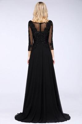 Perles noires manches 3/4 A-Line Appliques robes de demoiselle d'honneur_2