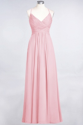 Chiffon A-Line Spaghetti-Straps V-Neck Sleeveless Long Bridesmaid Dress with Ruffles_4