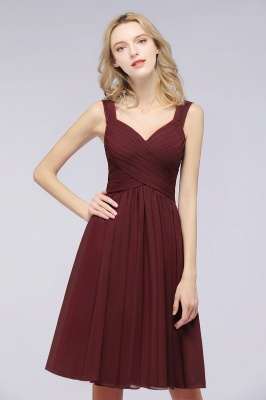 Elegant Ruffles Straps Sleeveless Short Bridesmaid Dresses_2