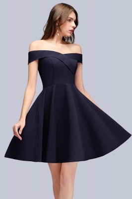 Simple Short Dark Navy Off the Shoulder Bridesmaid Dresses_1