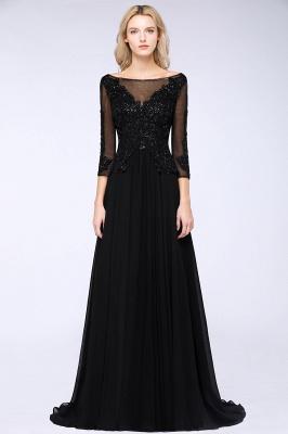 Perles noires manches 3/4 A-Line Appliques robes de demoiselle d'honneur_1
