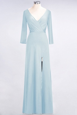Spandex A-Line V-Neck Long-Sleeves Side-Slit Long Bridesmaid Dress with Ruffles_20
