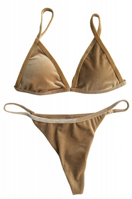 Velvet Triangle Pads Maillots De Bain Taille Haute Bikini_2