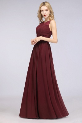 Chiffon A-Line Tulle Lace Scoop Sleeveless Long Bridesmaid Dress with Ruffle_4