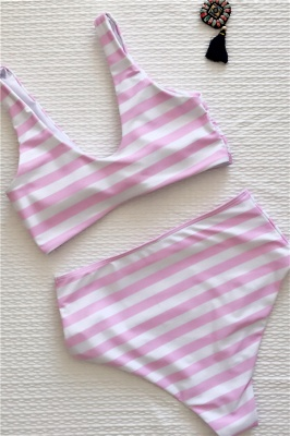 Stripes Vintage Style Two-piece Scoop Swimwear Suits_4