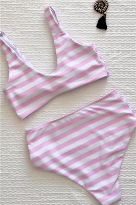 Rayures style vintage deux pièces scoop maillots de bain costumes_4