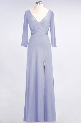 Spandex A-Line V-Neck Long-Sleeves Side-Slit Long Bridesmaid Dress with Ruffles_19