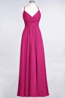 Chiffon A-Line Spaghetti-Straps V-Neck Sleeveless Long Bridesmaid Dress with Ruffles_9