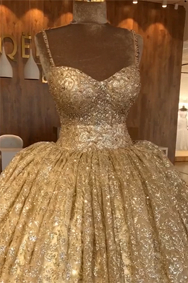 Spaghettiträger Gold Perlen Spitze Abendkleid | Luxus Ballkleid Princess Open Back Abendkleid_3