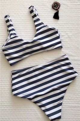 Stripes Vintage Style Two-piece Scoop Swimwear Suits_8