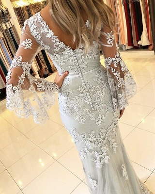 Classic V-Neck Bell Sleeves Prom Dresses | Lace Appliques Mermaid Evening Dresses_2