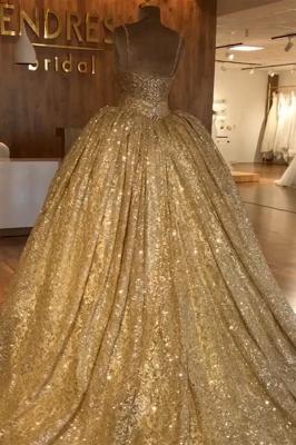 Spaghettiträger Gold Perlen Spitze Abendkleid | Luxus Ballkleid Princess Open Back Abendkleid_2