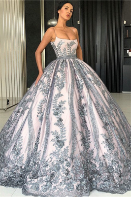 Spaghetti Straps Lace Appliques Evening Dresses | Luxury Princess Ball Gown Prom Dress 2019_2