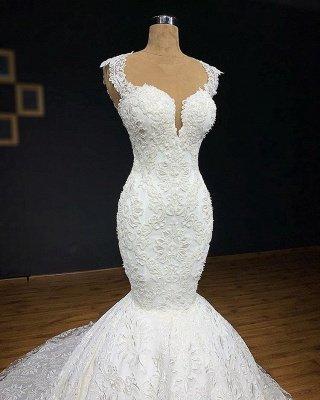 Wunderschöne Brautkleider Meerjungfrau Lang | Elegante Spitze Abendmode Weiße_2