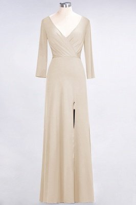 Spandex A-Line V-Neck Long-Sleeves Side-Slit Long Bridesmaid Dress with Ruffles_13