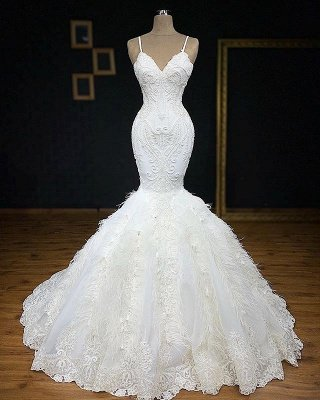 Mermaid Gorgeous Spaghetti-Straps Fur Appliques Wedding Dress