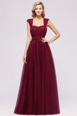 A-Line Popular Sweetheart Straps Sleeves Floor-Length Bridesmaid Dresses with Ruffles_1