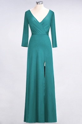 Spandex A-Line V-Neck Long-Sleeves Side-Slit Long Bridesmaid Dress with Ruffles_28